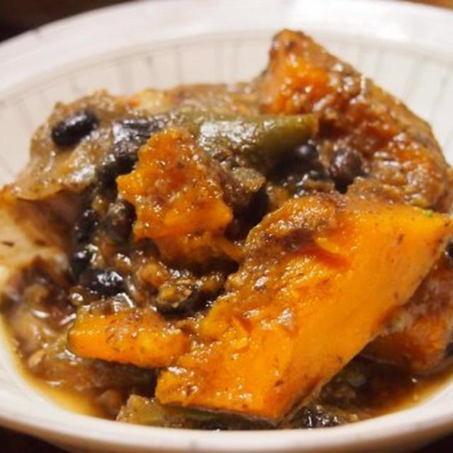 かぼちゃと黒豆の味噌煮