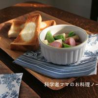 ソーセージとリンゴの温サラダとバターのっけトーストで朝ごはん