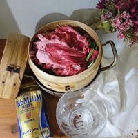 プレミアムモルツで 牛肉のせいろ蒸し