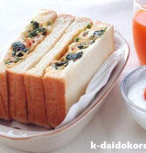 菜の花の卵とじをパンで挟んでみたら美味しいサンドイッチになりました