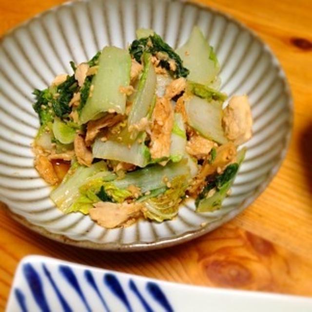 ☆白菜の間引き菜とツナの醤油炒め(ノンオイル)