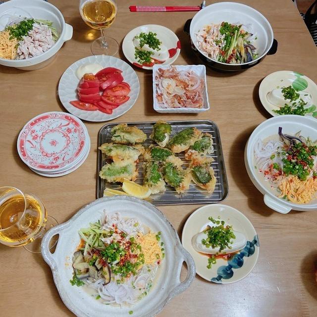 豆乳サラダ蕎麦と、タラの大葉天ぷらの週末ごはん