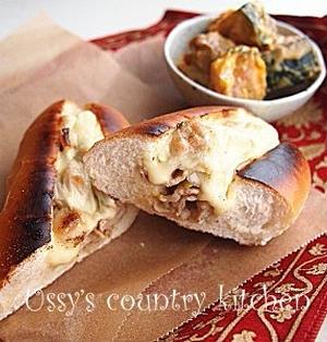 豚こまと白ねぎのチーズサンドイッチ
