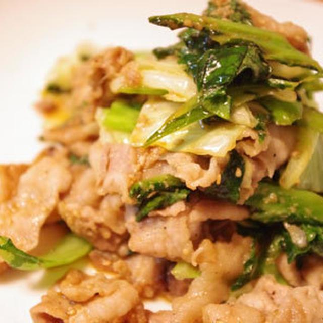 高菜と豚バラのゴマ醤油炒め
