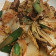 キムチのタレで簡単!サバ缶と白菜の炒め物