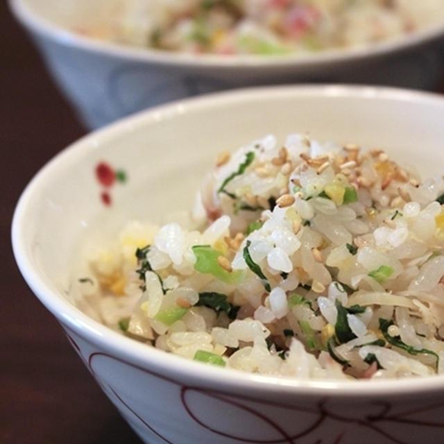 鯵の干物と小松菜の混ぜご飯。