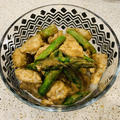 焼きアスパラガスと鶏肉の柚子胡椒味噌和え