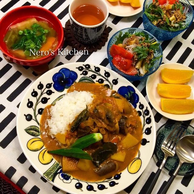 豚バラと茄子のベトナム風カレー・春菊としらすのベトナム風サラダ♪