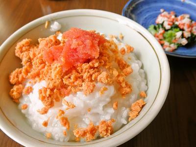鮭とタラコのおかゆと刻みサラダ