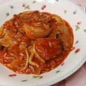 「鮭のチリトマトソース煮込み」