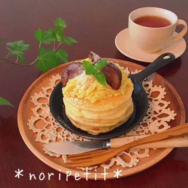 ワンポイントdeふわふわ♡さつまいもモンブランパンケーキ♡と赤福