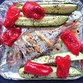 トースターで簡単真鯛とズッキーニとピーマンのオリーブバジル焼き
