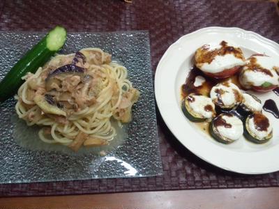 【献立】ツナ・茄子・エリンギ冷製パスタ、ズッキーニ&トマトのモッツァレラチーズグリルバルサミコソース