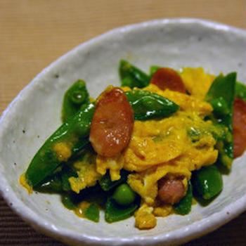 スナップエンドウのチーズ入り卵とじ:恒例のホームパーティ
