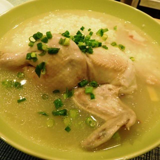 コーニッシュ ゲーム チキンヘンで作った参鶏湯風かゆ