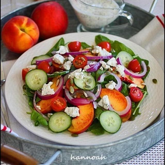 ほうれん草と桃のサマーサラダ