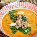 豆腐と豚挽肉のピリ辛練りゴマスープ