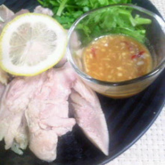 極上の夏休み☆ノンオイルレシピ☆タイ料理風♪蒸し鶏のさっぱり生姜みそだれ☆