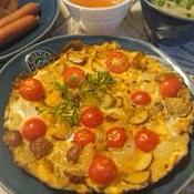 クミン風味トマトのオープンオムレツ