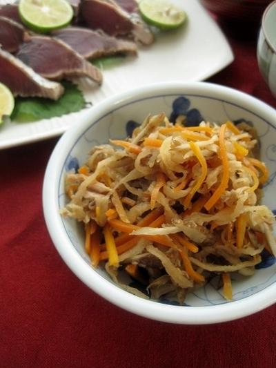 切り干し大根と根菜のツナきんぴら