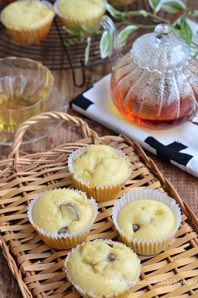 ホットケーキミックスで簡単 さつま芋とバナナのカップケーキ