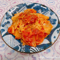 ヒガシマル 牡蠣だし醤油を使って、大根とツナのトマトスパゲッティ