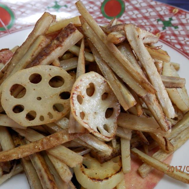 根菜♪ゴボウと蓮根のオリーブオイル炒め