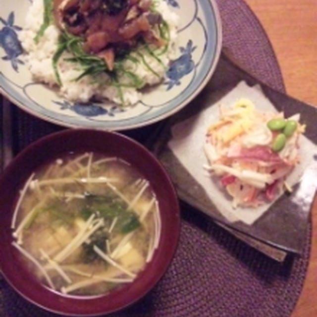 鰺しそもろみヅケ丼&五彩サラダ