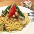 サバとアスパラとトマトのペペロンチーノ