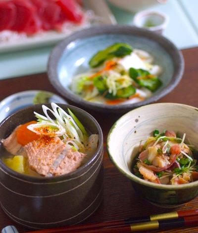鮭のアラ汁をおうちでも〜カンタン小鉢2種