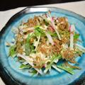湯葉とちりめん山椒のデリサラダ。いつもの大根サラダをデパ地下風に。