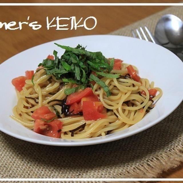 かわいい親子♪ ~レシピは『トマトと塩昆布のスパゲティ』です~