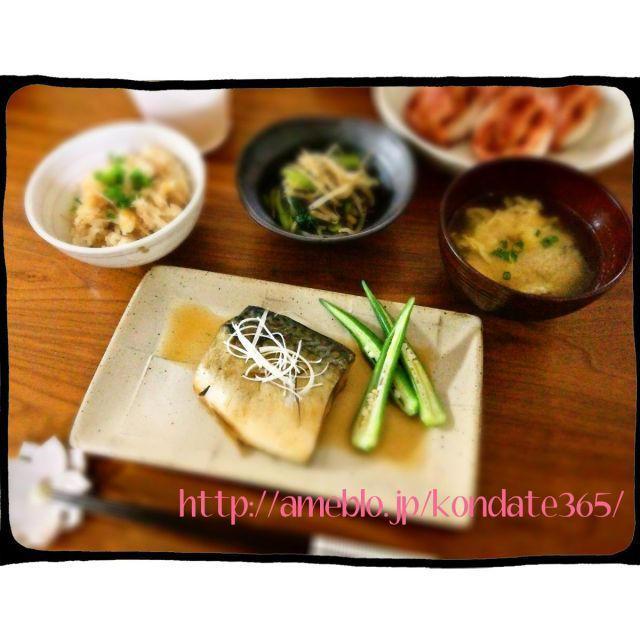【献立177】サバの生姜煮&ツナとなめ茸の炊き込みご飯