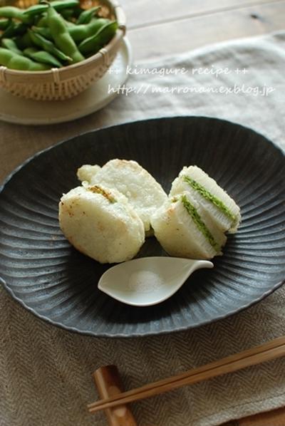 磯風味☆長芋の枝豆ペースト挟み揚げ