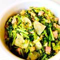 スープの素で炒める♪かぶ葉とベーコンのオニオンコンソメふりかけ♡