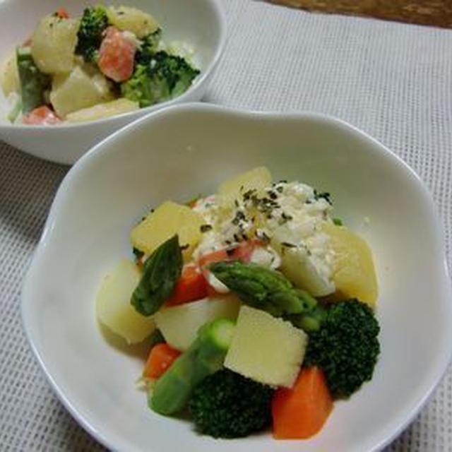 数の子とコロコロ温野菜タルタルソースかけ