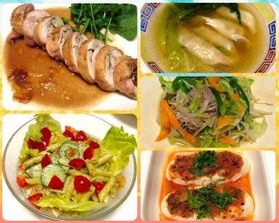 エリンギ入りロールチキン、ペンネのジェノベーゼ、青梗菜と餃子のスープ 7/2まとめ