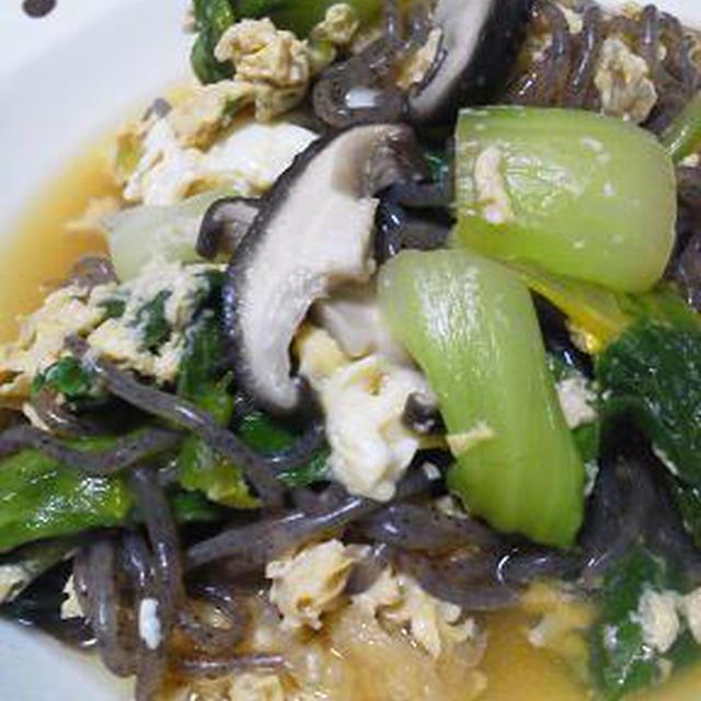 椎茸とチンゲン菜の卵とじ♪