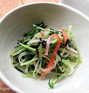レンジで簡単!水菜とカニカマの塩昆布和え【#レンジ#副菜#お弁当】