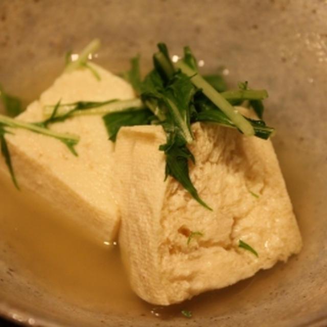 凍り豆腐と水菜の煮びたし