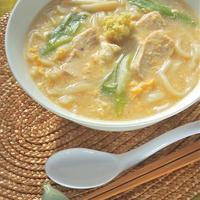 極みつゆで簡単!たっぷり生姜で温まる〜とろみ卵スープの鶏うどん。