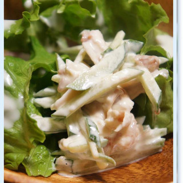 【 甘めの塩麹豚丼と、きゅうりと蒸し鶏の梅マヨ和え。】