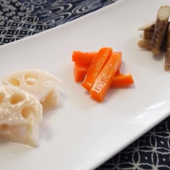 『副菜 - 根菜の甘酢漬け』 49kcal- 一汁三菜レシピ