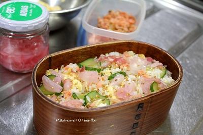 塩鮭と胡瓜の、まぜごはん弁当