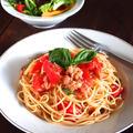 この世でいちばんカンタンでウマ死な冷たいスパゲッティは「ツナ缶トマトスパ」だと思うんだけど。