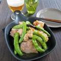 【レシピ】ガッツリ★砂糖豌豆とチキンのガーリック炒め