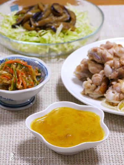 ところてん中華サラダ。手羽元のスチームソテー 濃厚カレーソース添え。の晩ご飯。