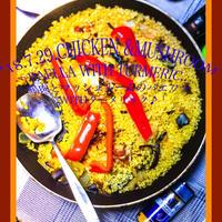 鶏肉とマッシュルームのパエリア〜頂いたスパイスで母に振る舞うホムパVol.36♪