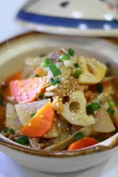 受験生応援レシピ インフルエンザを予防する?! 根菜と豚肉のキムチ煮込み