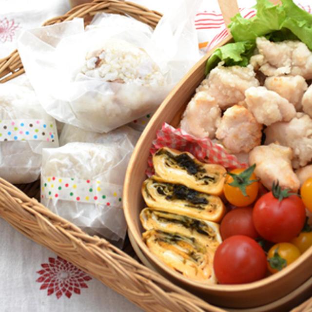 公園弁当~蒸し焼き豚と里芋の煮汁炊き込みごはん。もちも鶏から揚げ。